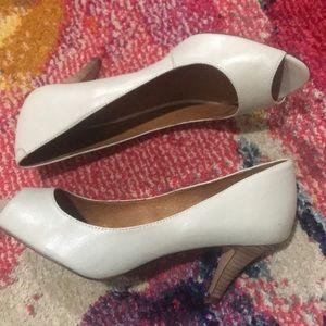 ALDO peep toe heels in soft light jade/sage green